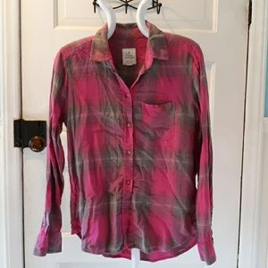 American Eagle xs fall flannel pink grey